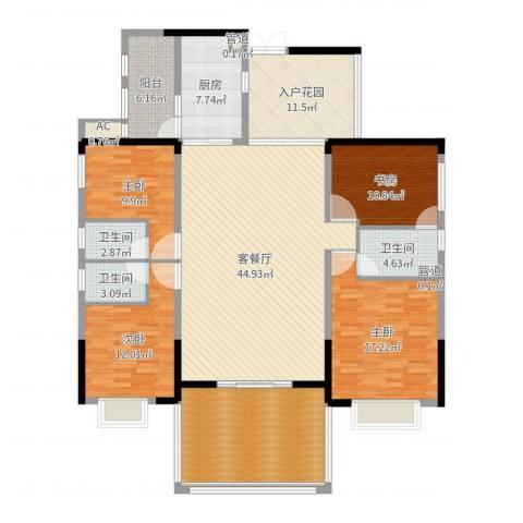珠光新城御景4室2厅3卫1厨187.00㎡户型图