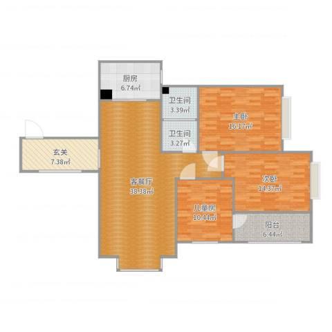 金盾未来花园3室2厅2卫1厨133.00㎡户型图
