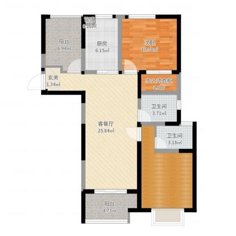 瀚林国际1室2厅2卫1厨95.00㎡户型图