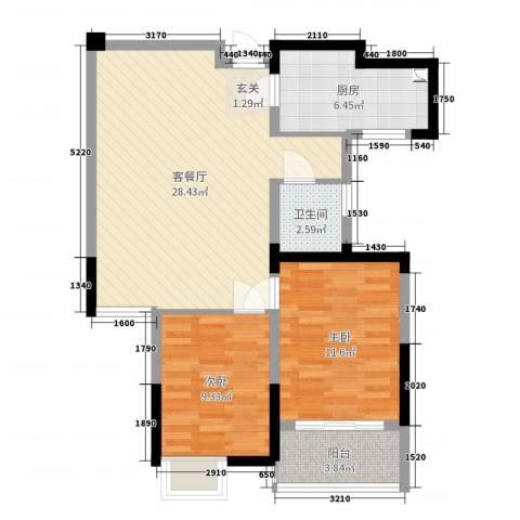 泰恒华府2室2厅1卫1厨98.00㎡户型图