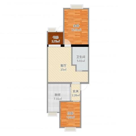 清华园6号楼3室1厅1卫1厨65.00㎡户型图
