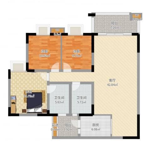 金沙湾花园3室1厅2卫1厨135.00㎡户型图