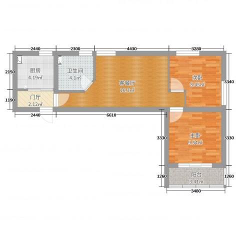 爱建大楼浦东新区浦东南路2室2厅1卫1厨60.00㎡户型图