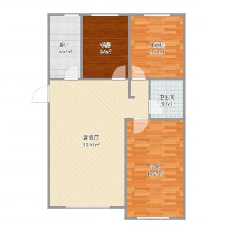 铖裕香榭湾3室2厅1卫1厨93.00㎡户型图