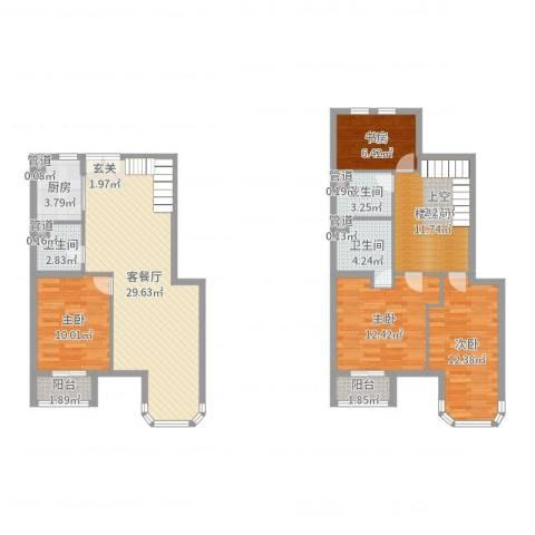 跃界4室2厅3卫1厨126.00㎡户型图