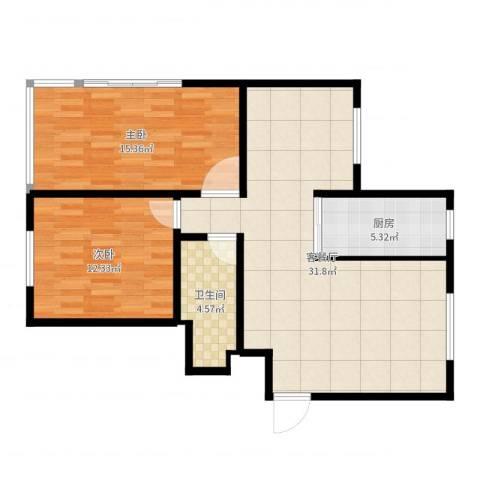 盘城新居2室2厅1卫1厨87.00㎡户型图