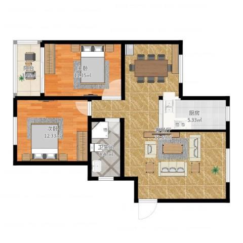 盘城新居2室2厅1卫1厨86.00㎡户型图