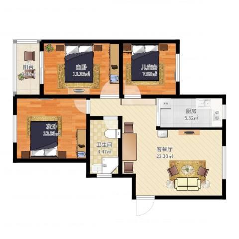 盘城新居3室2厅1卫1厨85.00㎡户型图