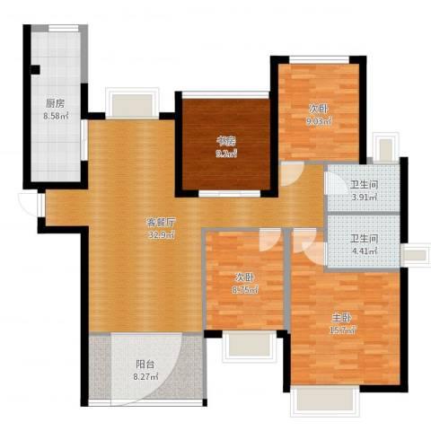 晶蓝上城4室2厅2卫1厨126.00㎡户型图