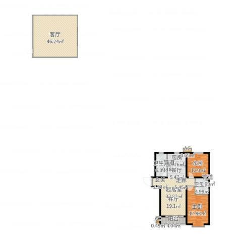 世纪家园2室1厅2卫1厨164.00㎡户型图