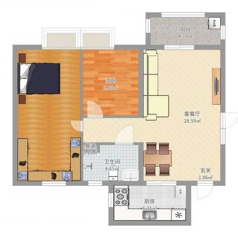 恒大帝景1室2厅1卫1厨92.00㎡户型图