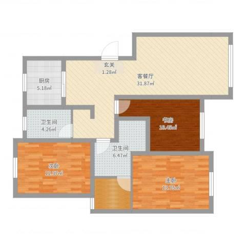 天恒王府3室2厅2卫1厨110.00㎡户型图