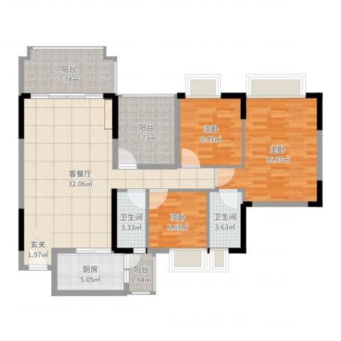 朗晴名门3室2厅2卫1厨116.00㎡户型图