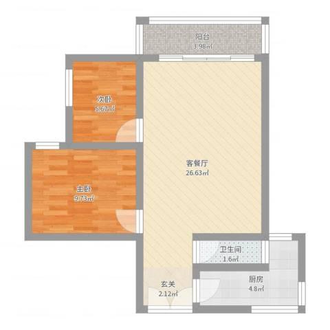 东苑小区2室2厅1卫1厨66.00㎡户型图