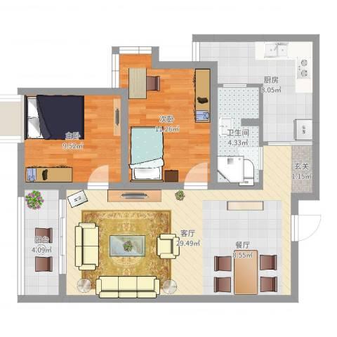 蠡湖家园2室1厅1卫1厨83.00㎡户型图