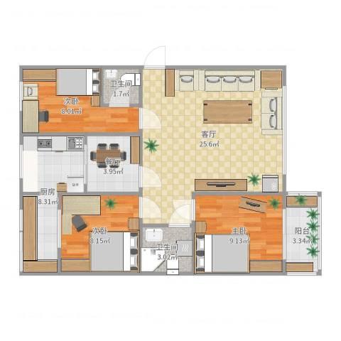 武定苑3室2厅2卫1厨89.00㎡户型图