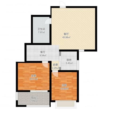 香格里拉花园2室1厅1卫1厨116.00㎡户型图