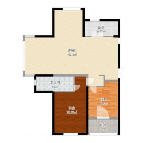 滨江一号2室2厅1卫1厨146.00㎡户型图