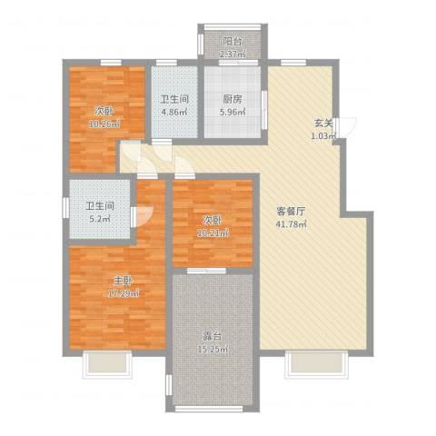 眉县水木清华二期绿意新城3室2厅2卫1厨141.00㎡户型图