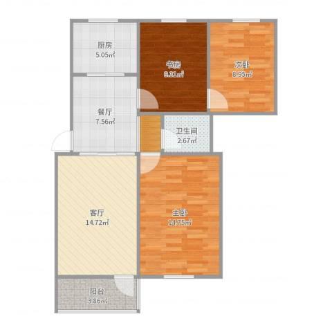 石塔桥南新村3室2厅1卫1厨85.00㎡户型图