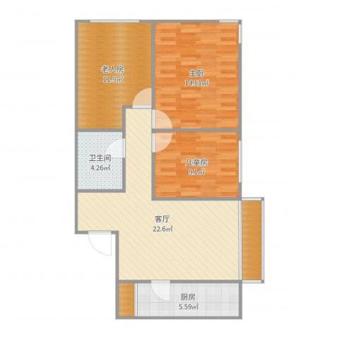 顺义区金汉绿港3室1厅1卫1厨90.00㎡户型图