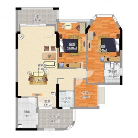 (三泰)海逸华庭3室2厅2卫1厨143.00㎡户型图