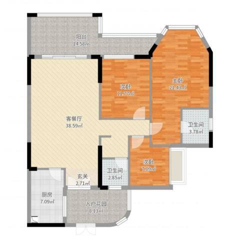 (三泰)海逸华庭3室2厅2卫1厨144.00㎡户型图