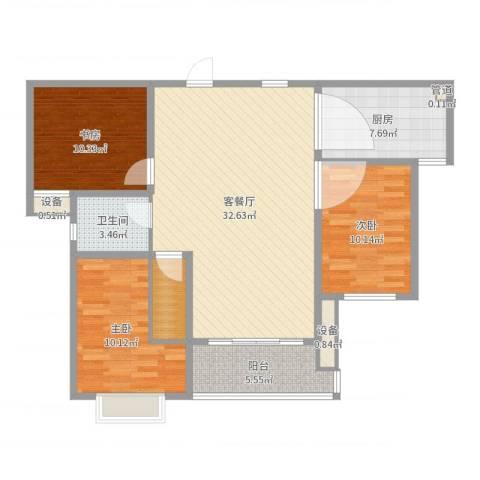 振华别墅3室2厅1卫1厨105.00㎡户型图