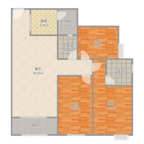 江南华都3室1厅2卫1厨134.00㎡户型图