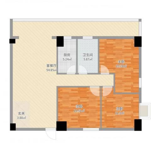 弘林大厦3室2厅1卫1厨134.00㎡户型图