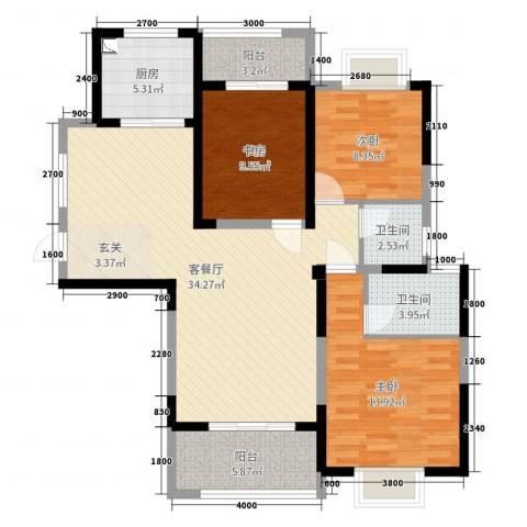 金龙华侨城3室2厅2卫1厨115.00㎡户型图