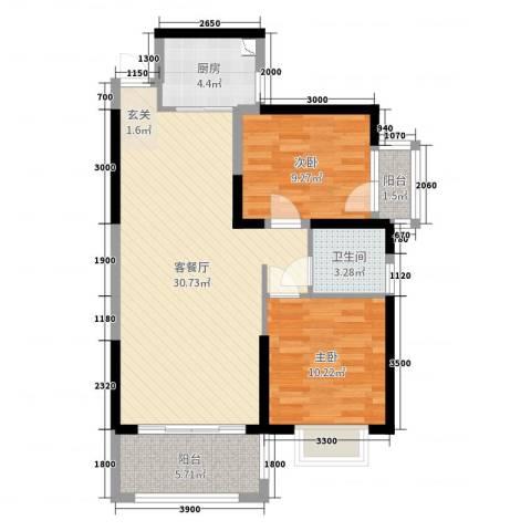 金龙华侨城2室2厅1卫1厨78.00㎡户型图