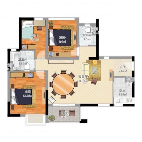 万科金域国际3室2厅5卫1厨95.00㎡户型图