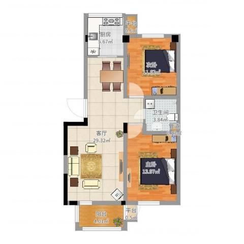 四季花苑二期绿地景城2室1厅1卫1厨87.00㎡户型图