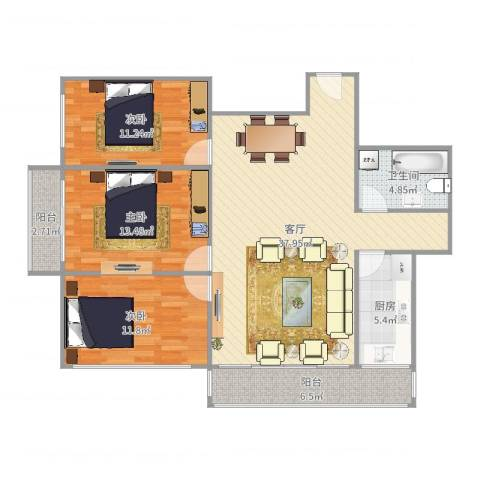 青塔西里六号院3室1厅1卫1厨117.00㎡户型图