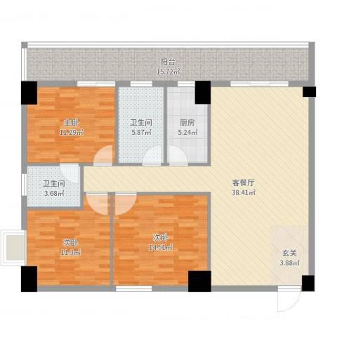 弘林大厦3室2厅2卫1厨133.00㎡户型图