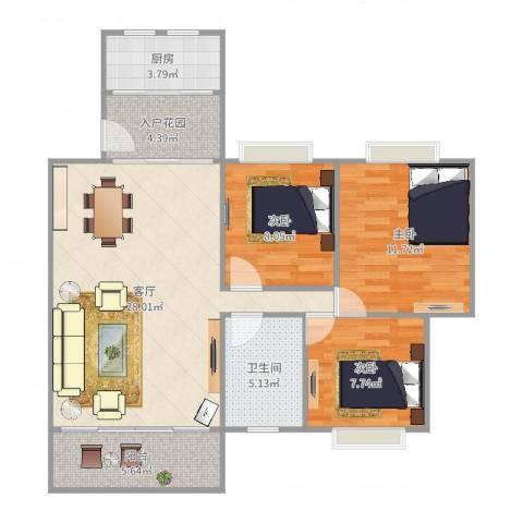 宝翠花园3室1厅1卫1厨93.00㎡户型图