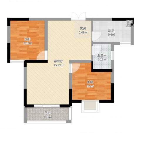 世纪绅城2室2厅1卫1厨70.00㎡户型图