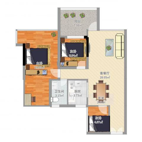 阳光时代3室2厅1卫1厨90.00㎡户型图