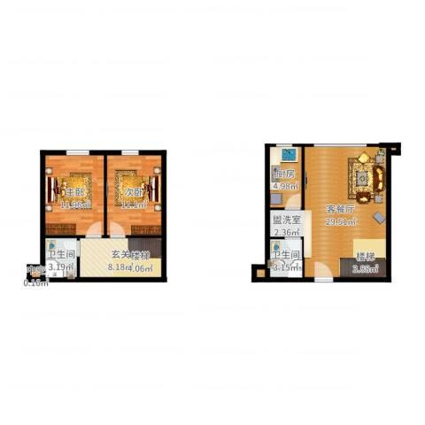 滨海浙商蓝庭国际2室2厅2卫1厨90.00㎡户型图