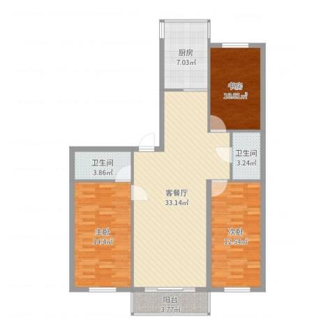 果园星城3室2厅2卫1厨110.00㎡户型图