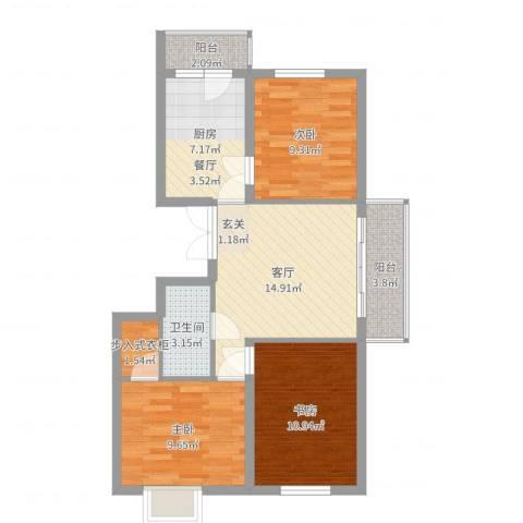 枫桥国际3室1厅1卫1厨78.00㎡户型图