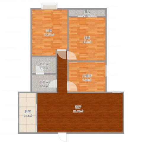 来泉山庄3室1厅2卫1厨104.00㎡户型图