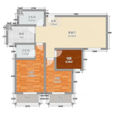 翰林名晟小区3室2厅2卫1厨99.00㎡户型图