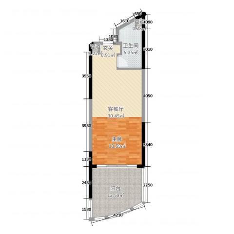 敏捷・黄金海岸2厅1卫0厨61.00㎡户型图