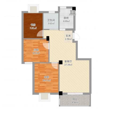 万景梅庭3室2厅1卫1厨84.00㎡户型图