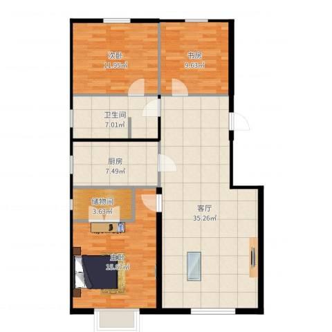 希望廊桥郡3室1厅1卫1厨113.00㎡户型图