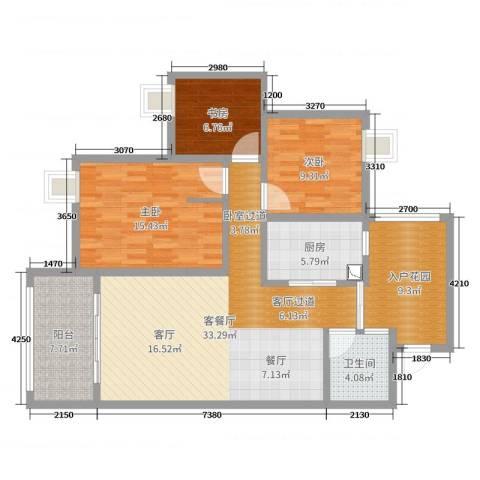 天瀑阳光3室2厅1卫1厨115.00㎡户型图