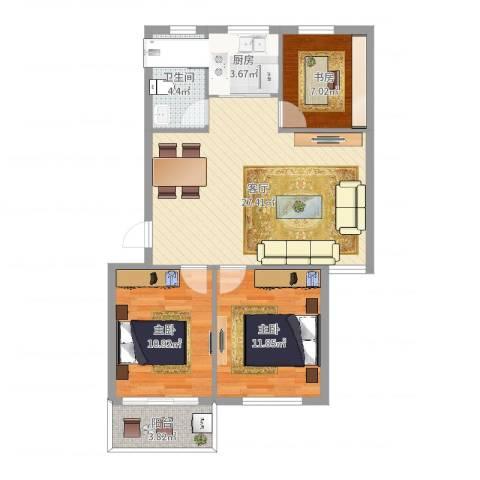 桑园新村3室1厅1卫1厨86.00㎡户型图