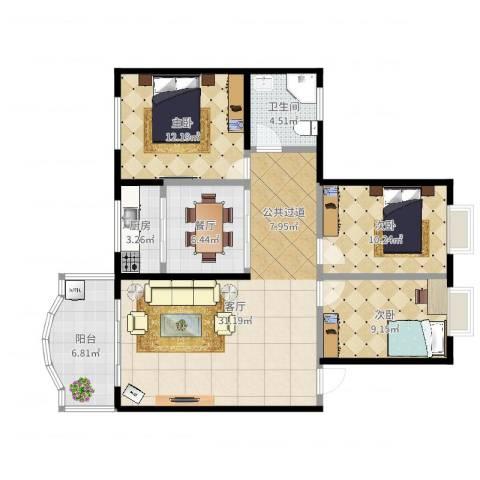 华创公寓3室2厅1卫1厨105.00㎡户型图